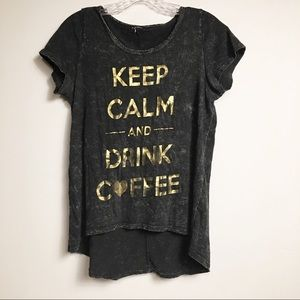 Tops - Keep Calm and Drink Coffee Graphic T Shirt Small